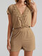 Lace Embroidery Patchwork V-neck Urban Casual Jogger Romper - Khaki