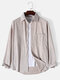 Mens Corduroy Solid Button Up Basics Long Sleeve Shirts With Pocket - Apricot