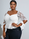 Lace Patchwork Square Collar Knotted Plus Size Blouse - White
