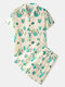 Mens Cute Cactus Print Sets Outfits Lapeal Collar Smooth Affordable Silk Pajamas Nightwear - Yellow