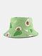 Unisex Cotton Cartoon Fruit Pattern Printing Fashion Sunshade Bucket Hat - Green Avocado