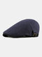 Men Polyester Cotton Solid Color Thin Sunscreen Brief Casual Beret Flat Caps - Navy