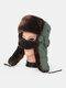 男性防寒ウィンタートラッパーハットコットン厚手のウィンターハット耳栓マスクトラッパーハット付き - 褐色