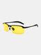 Men Metal Square Half Frame Smart Color-changing Polarized Anti-UV Sunglasses - #08
