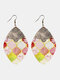 Vintage PU Leather Alloy Geometric-shape Patchwork Argyle Floral Printing Earrings - #04