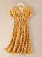 Women Floral Print V-neck Elastic Waist Short Sleeve Dress - Yellow