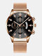 14 Colors  Alloy Mesh Band Men Business WatchDecorated Pointer Calendar Quartz Watch - Rose Gold Band Black Dial Rose G