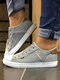 Large Size Women Casual Slip On Splicing Canvas Skate Shoes - Gray