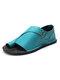 Large Size Women Retro Solid Color Buckle Clip Toe Flat Sandals - Light Blue 1