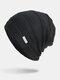 Men Winter Plus Velvet Striped Pattern Outdoor Knitted Warm Beanie Hat - Black
