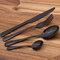 4pcs Stainless Steel Colorful Cutlery Set Christmas Dinnerware Creative Dinner Set - Black