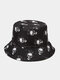 Unisex Cotton Overlay Cartoon Skull Flower Print Double-sided Wearable Fashion Sunscreen Bucket Hat - #01