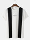 Mens Knit Two Tone Patchwork Embroidered Preppy Short Sleeve T-Shirts - Black
