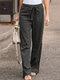 Elastic Waist Bowknot Straight Vintage Plus Size Pants - Grey