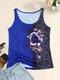 Camiseta sin mangas con cuello redondo y estampado de rosas para Mujer - azul