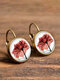 Vintage Flower Pattern Women Earrings Glass Printed Pendant Earrings Ear Hooks - #10