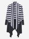 Femmes Casual Stripe Irregular Hem Cotton Cardigans