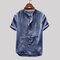 Mens Vintage Solid Color Stand Collar Short Sleeve Loose Casual T shirt