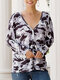 Camouflage Print V-neck Long Sleeve Blouse Button Cardigan - Gray