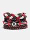 4個の多層レザーメンズブレスレットセット手織りツリーレターレディースビーズブレスレット - #28