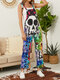 Stylish Bowknot Skeleton Button Knotted Rompers for Women - Multicolor