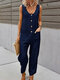 Casual Solid Button Front Pocket Jumpsuit for Women - Navy Blue
