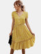 Stringy Selvedge Floral Print Short Sleeve Dress For Women - Yellow