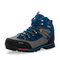 Men Outdoor Slip Resistant Lace Up Leather Hiking Boots - Blue