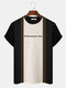 Mens Block Stripe Patchwork Letter Embroidery Knitted Short Sleeve Preppy T-Shirts - Coffee