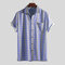 Mens Holiday Floral Stripe Vintage Casual Chest Pocket Turn Down Collar Short Sleeve Shirts
