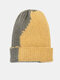 Unisex Knitted Color-match Irregular Patchwork All-match Warmth Beanie Hat - Yellow+Army Green