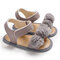 Toddler Girls Lace Flower Decor Comfy Hook Loop Casual Sandals - Gray