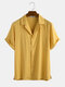Newchic Design Mens Light Breathable Solid Color Revere Shirt - Yellow