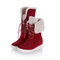 Women Casual Warm Fluff Flanging Lace Up Mid-Calf Snow Cotton Boots - Red