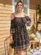 Ethnic Print Off Shoulder Knotted Plus Size Dress - Black