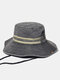 Men Cotton Washed Made-old Contrast Color Patch Sun Protection Casual Bucket Hat - Black