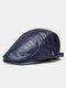 Collrown Men Faux Leather Retro Letters Pattern Flat Cap Universal All-match Forward Hat Beret Hat - Blue