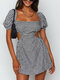 Holiday Plaid Solid Square Collar Short Sleeve Backless Knotted Sexy Dress - Black Plaid