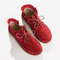 Large Size Women Comfy Suede Braided Scallop Strappy Flat Ankle Boots - Red
