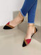 Large Size Casual Color Block Open Side Comfortable Women's Flats - Red