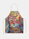 Cartoon Color Cat Pattern Cleaning Colorful Aprons Home Cooking Kitchen Apron Cook Wear Cotton Linen Adult Bibs - #15