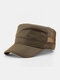 Men Short Brim Solid Color With Mesh Breathable Quick-Drying Military Hat - Army Green
