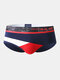 Sexy Colorblock Patchwork Cotton Breathable Underwear Thin Stitching Elastic Brief for Men - Navy