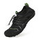 Unisex Kids Outdoor Mesh Fabric Breathable Non Slip Wearable Soft Water Sneakers - Black