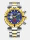 Multifunctional Men Business Watch Luminous Chronograph Calendar Quartz Watch - Blue Dial Between Gold Band