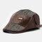 Men Stripe Leather Patchwork Fashion Beret Flat Cap Personality Forward Hat - Coffee