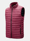 Mens Zip Up Quilted Solid Sleevless Padded Vests With Welt Pocket - Red