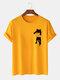Mens Cartoon Cat Chest Print Cotton Casual Short Sleeve T-Shirts - Yellow