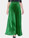 Solid Color Elastic Waist Long Pleated Skirt For Women - Green