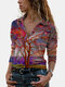 Vintage Printed Lapel Collar Long Sleeve Blouse - Red
